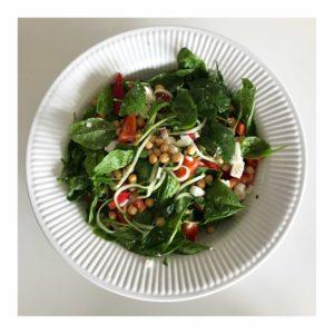 Lækker salat med kikærter og babyspinat